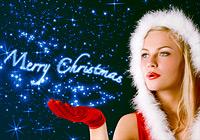 Weihnachtsfrau wünscht Merry Christmas